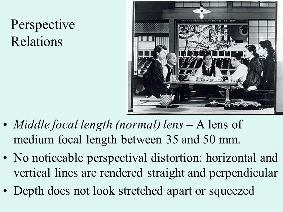 Perspective Relations Middle focal length (normal) lens – A lens of medium focal length between 35 and 50 mm.