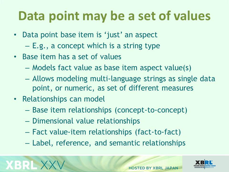 Data point base item is 'just' an aspect – E.g., a concept which is a string type Base item has a set of values – Models fact value as base item aspect value(s) – Allows modeling multi-language strings as single data point, or numeric, as set of different measures Relationships can model – Base item relationships (concept-to-concept) – Dimensional value relationships – Fact value-item relationships (fact-to-fact) – Label, reference, and semantic relationships Data point may be a set of values