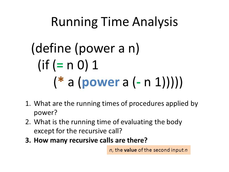 Running Time Analysis (define (power a n) (if (= n 0) 1 (* a (power a (- n 1))))) 1.What are the running times of procedures applied by power.