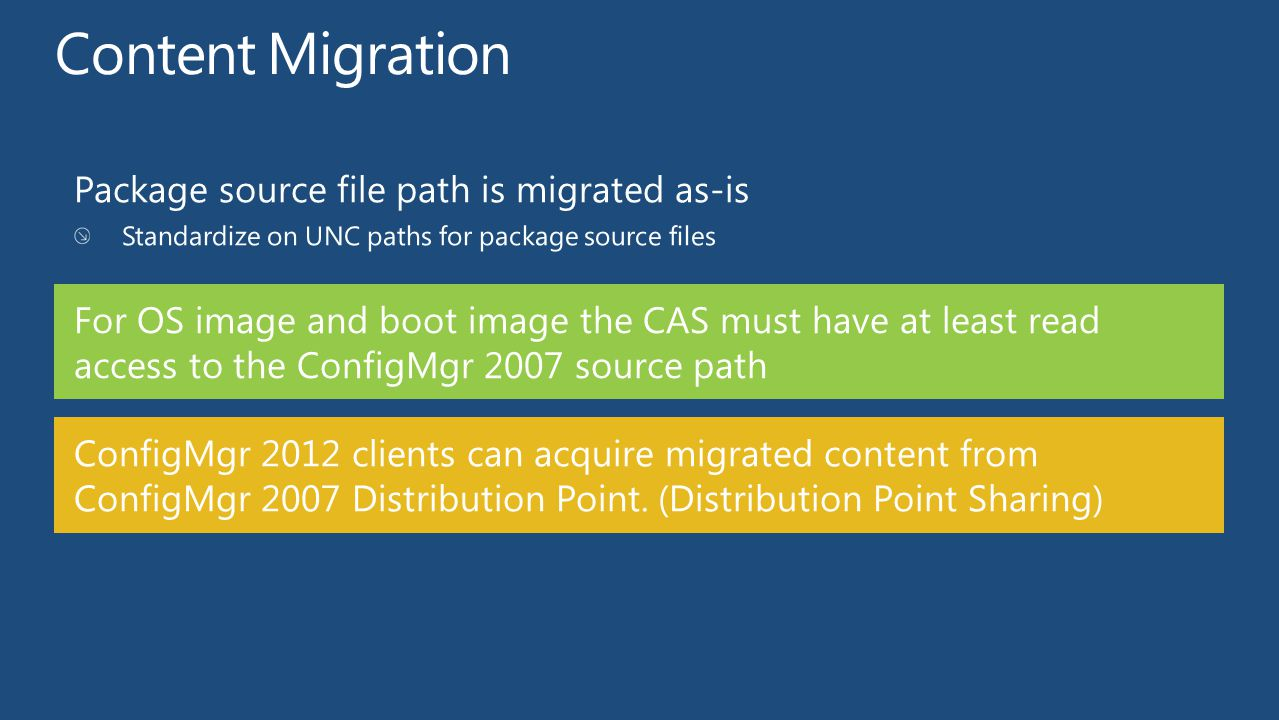 ConfigMgr 2012 clients can acquire migrated content from ConfigMgr 2007 Distribution Point. (Distribution Point Sharing) For OS image and boot image t