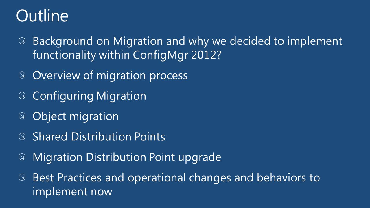 An orchestrated end-to-end action Supports Branch, Server Share and Standard Distribution Points Content for migrated packages converted into ConfigMgr 2012 content library and single instance store Support Secondary Sites that have co-located Distribution Points Ensure no additional site system roles exist