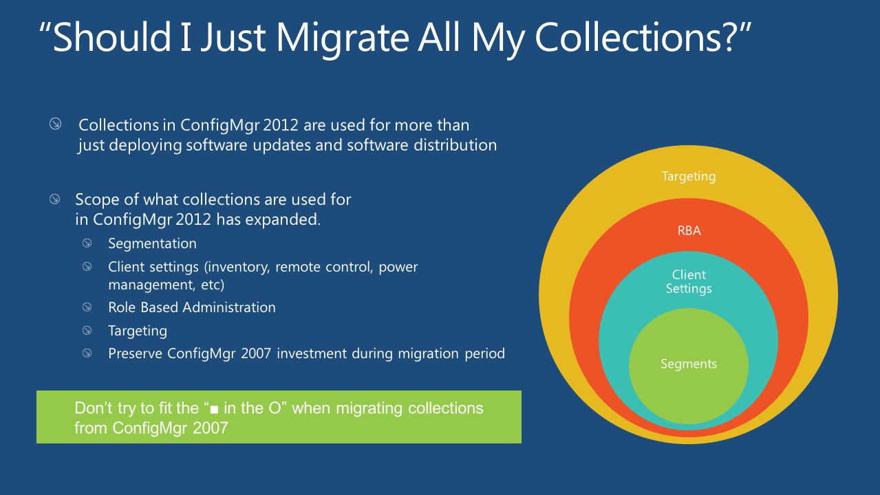 Targeting Scope of what collections are used for in ConfigMgr 2012 has expanded. Segmentation Client settings (inventory, remote control, power manage