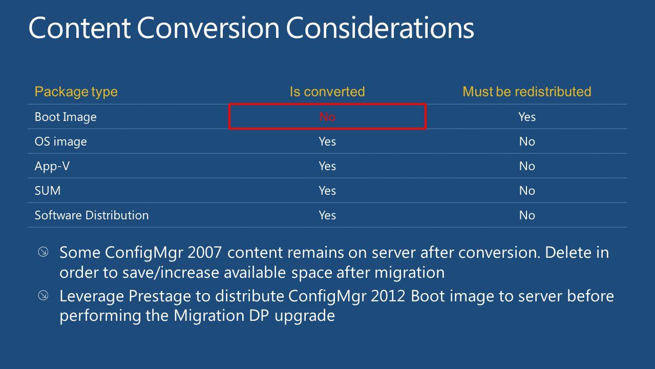 Package typeIs convertedMust be redistributed Boot ImageNoYes OS imageYesNo App-VYesNo SUMYesNo Software DistributionYesNo Some ConfigMgr 2007 content