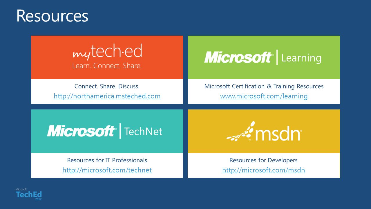 Connect. Share. Discuss. http://northamerica.msteched.com Learning Microsoft Certification & Training Resources www.microsoft.com/learning TechNet Res