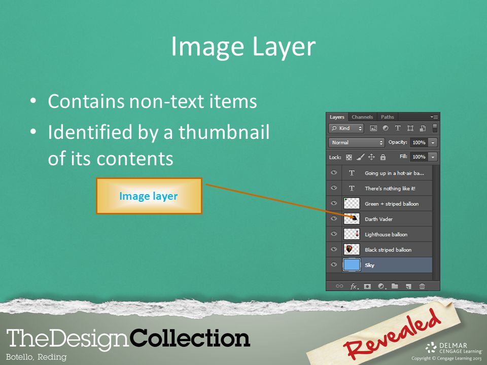 Image Layer Contains non-text items Identified by a thumbnail of its contents Image layer