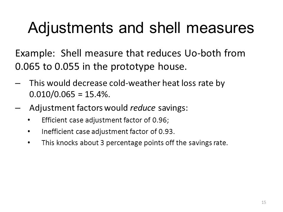Adjustments and shell measures 15 Example: Shell measure that reduces Uo-both from 0.065 to 0.055 in the prototype house.