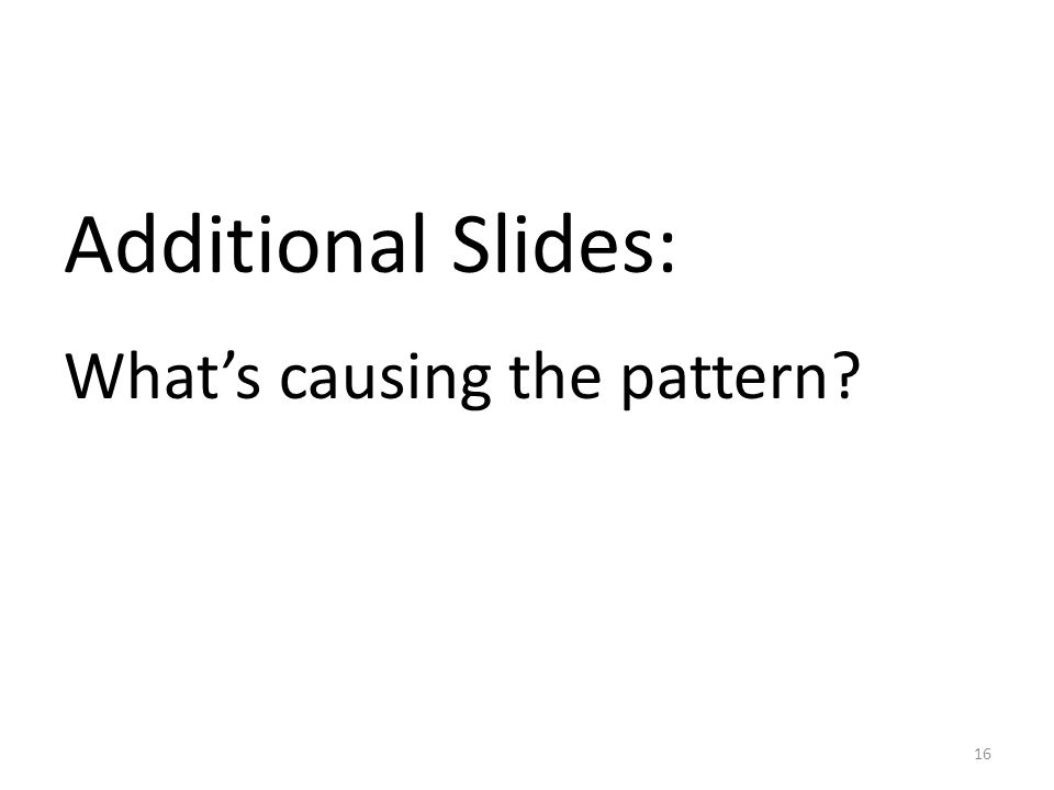 Additional Slides: What's causing the pattern 16