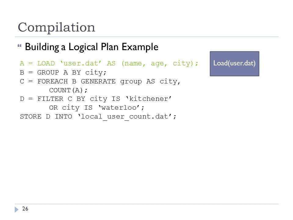 Compilation  Building a Logical Plan Example A = LOAD 'user.dat' AS (name, age, city); Load(user.dat) B = GROUP A BY city; C = FOREACH B GENERATE group AS city, COUNT(A); D = FILTER C BY city IS 'kitchener' OR city IS 'waterloo'; STORE D INTO 'local_user_count.dat'; 26