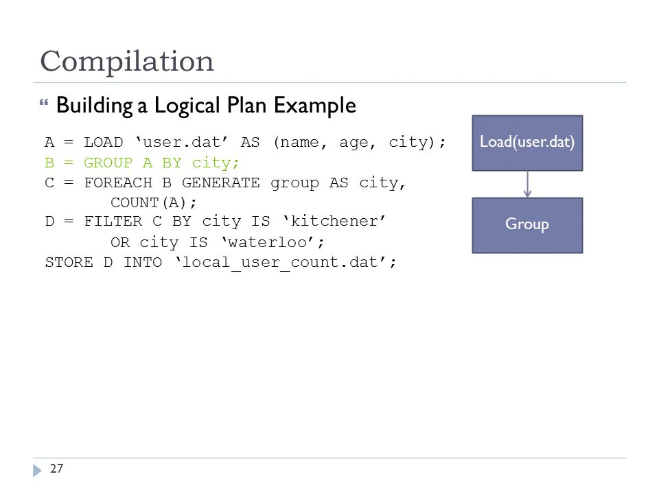 Compilation  Building a Logical Plan Example A = LOAD 'user.dat' AS (name, age, city); Load(user.dat) B = GROUP A BY city; C = FOREACH B GENERATE group AS city, COUNT(A); D = FILTER C BY city IS 'kitchener' Group OR city IS 'waterloo'; STORE D INTO 'local_user_count.dat'; 27