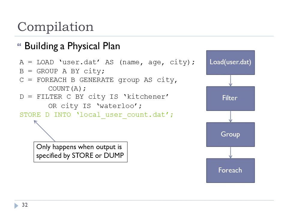 Compilation  Building a Physical Plan A = LOAD 'user.dat' AS (name, age, city); Load(user.dat) B = GROUP A BY city; C = FOREACH B GENERATE group AS city, COUNT(A); D = FILTER C BY city IS 'kitchener' Filter OR city IS 'waterloo'; STORE D INTO 'local_user_count.dat'; Group Only happens when output is specified by STORE or DUMP Foreach 32