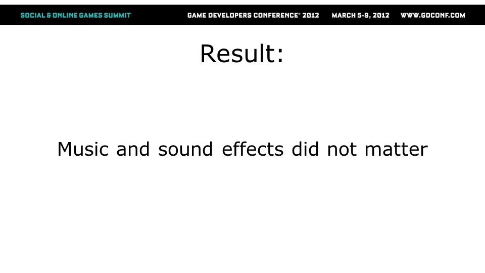 Result: Music and sound effects did not matter