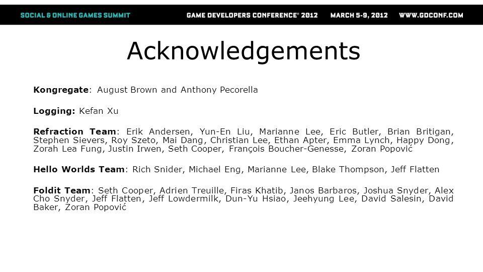Acknowledgements Kongregate: August Brown and Anthony Pecorella Logging: Kefan Xu Refraction Team: Erik Andersen, Yun-En Liu, Marianne Lee, Eric Butle