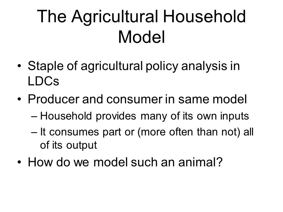 The Agricultural Household Model Staple of agricultural policy analysis in LDCs Producer and consumer in same model –Household provides many of its own inputs –It consumes part or (more often than not) all of its output How do we model such an animal?