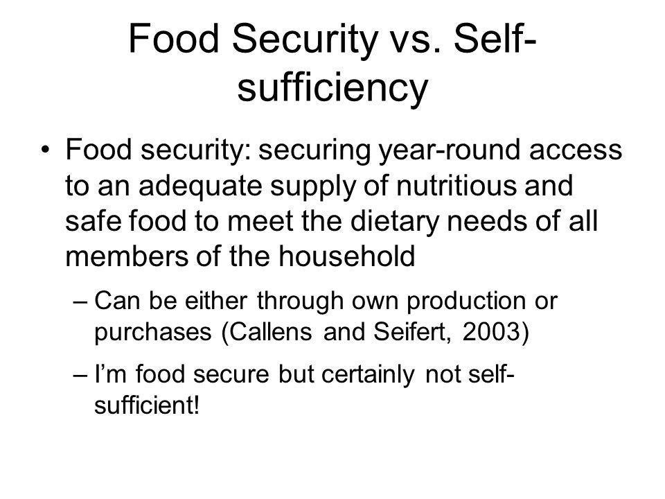 Food Security vs.