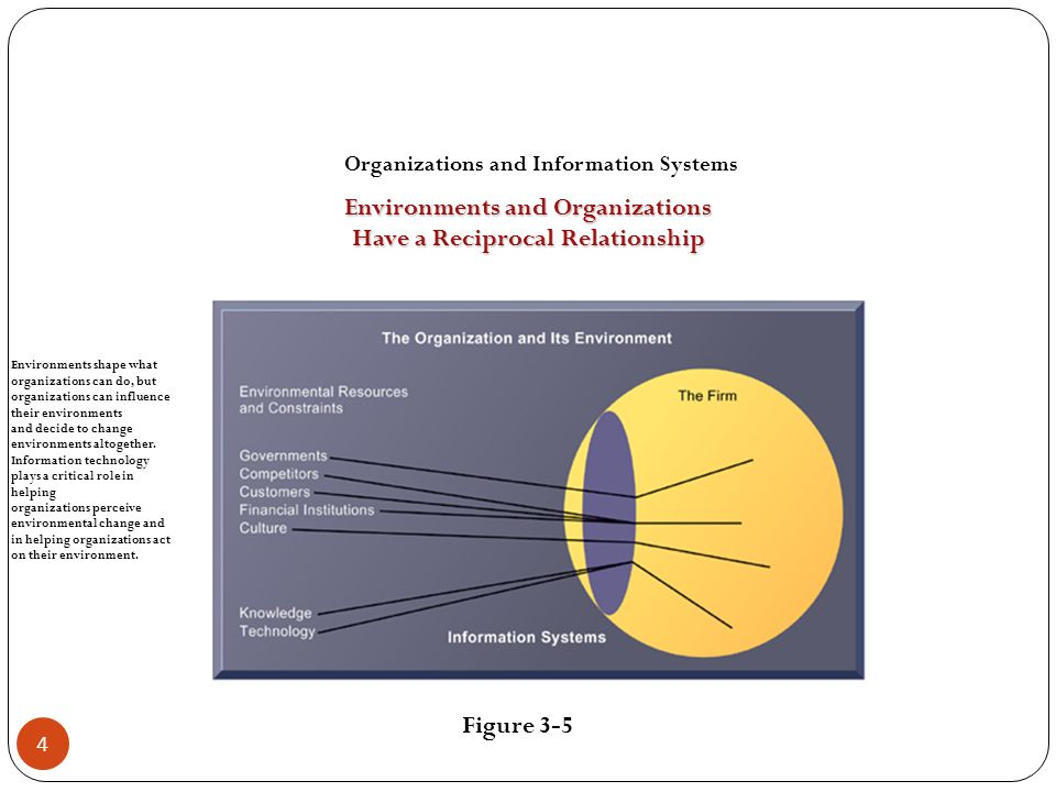 How Information Systems Impact Organizations and Business Firms Central organizational factors to consider when planning a new system: Environment Structure Culture and politics Type of organization and style of leadership Main interest groups affected by system; attitudes of end users Tasks, decisions, and business processes the system will assist 15