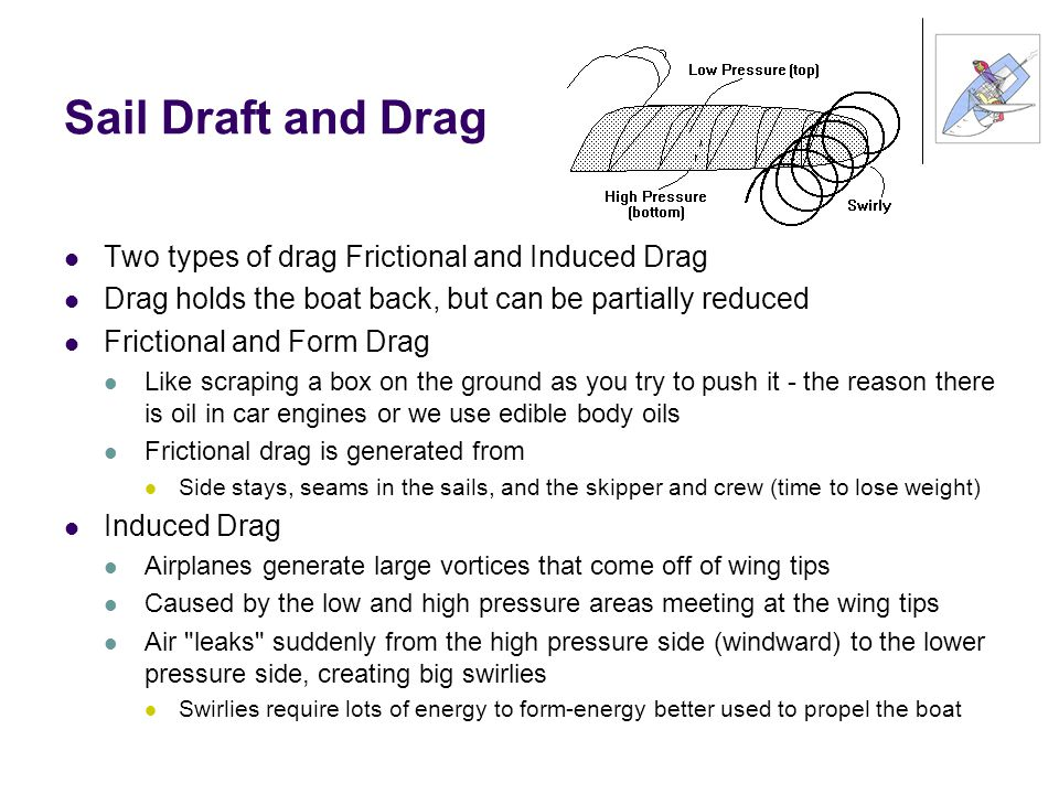 Sail Draft and Drag Two types of drag Frictional and Induced Drag Drag holds the boat back, but can be partially reduced Frictional and Form Drag Like scraping a box on the ground as you try to push it - the reason there is oil in car engines or we use edible body oils Frictional drag is generated from Side stays, seams in the sails, and the skipper and crew (time to lose weight) Induced Drag Airplanes generate large vortices that come off of wing tips Caused by the low and high pressure areas meeting at the wing tips Air leaks suddenly from the high pressure side (windward) to the lower pressure side, creating big swirlies Swirlies require lots of energy to form-energy better used to propel the boat