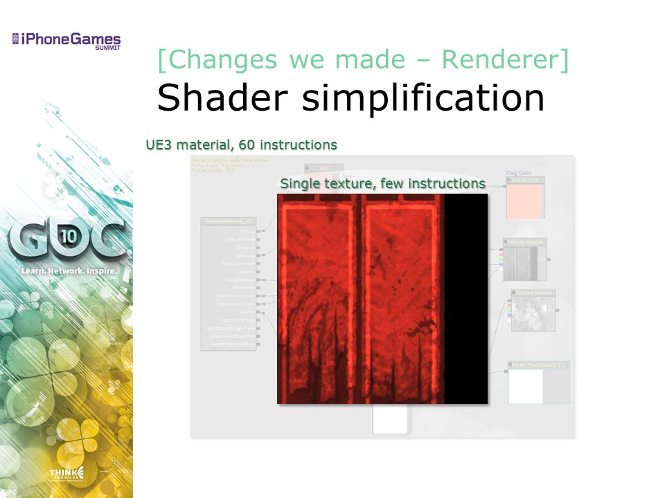 UE3 material, 60 instructions [Changes we made – Renderer] Shader simplification Single texture, few instructions