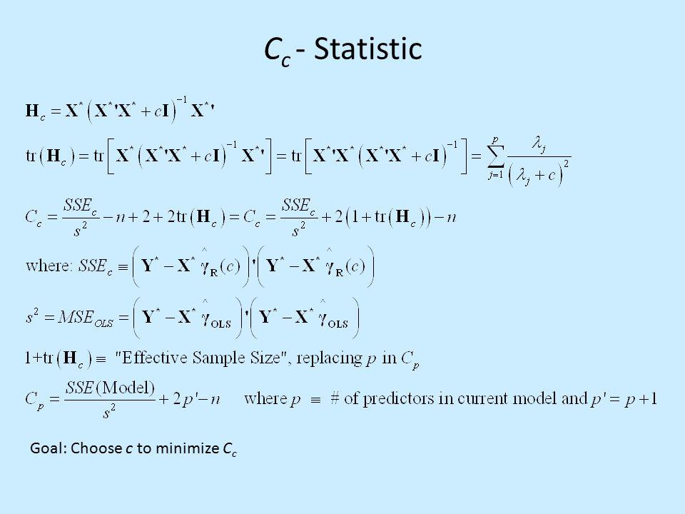 C c - Statistic Goal: Choose c to minimize C c