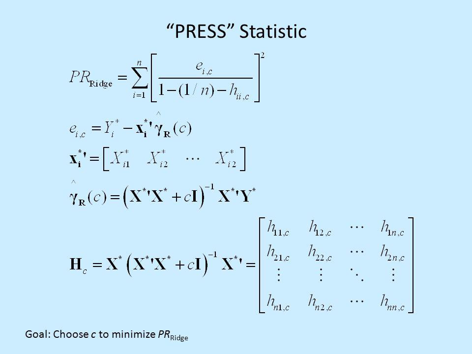 """PRESS"" Statistic Goal: Choose c to minimize PR Ridge"