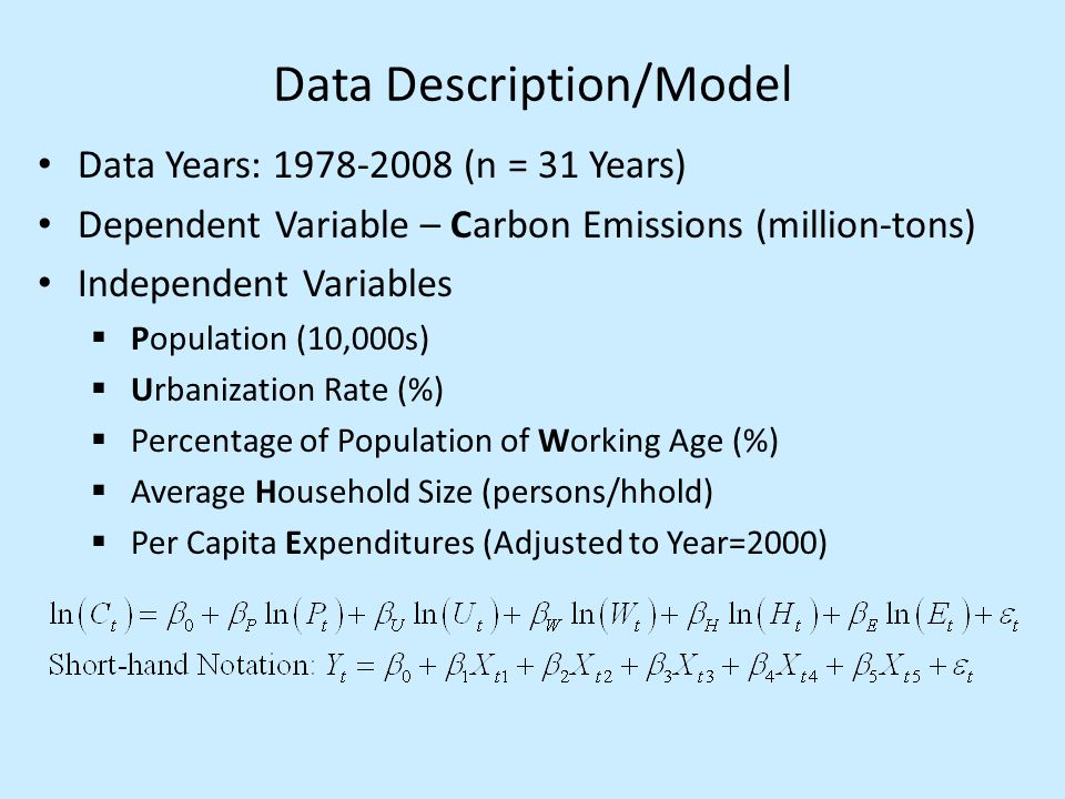 Data Description/Model Data Years: 1978-2008 (n = 31 Years) Dependent Variable – Carbon Emissions (million-tons) Independent Variables  Population (10,000s)  Urbanization Rate (%)  Percentage of Population of Working Age (%)  Average Household Size (persons/hhold)  Per Capita Expenditures (Adjusted to Year=2000)