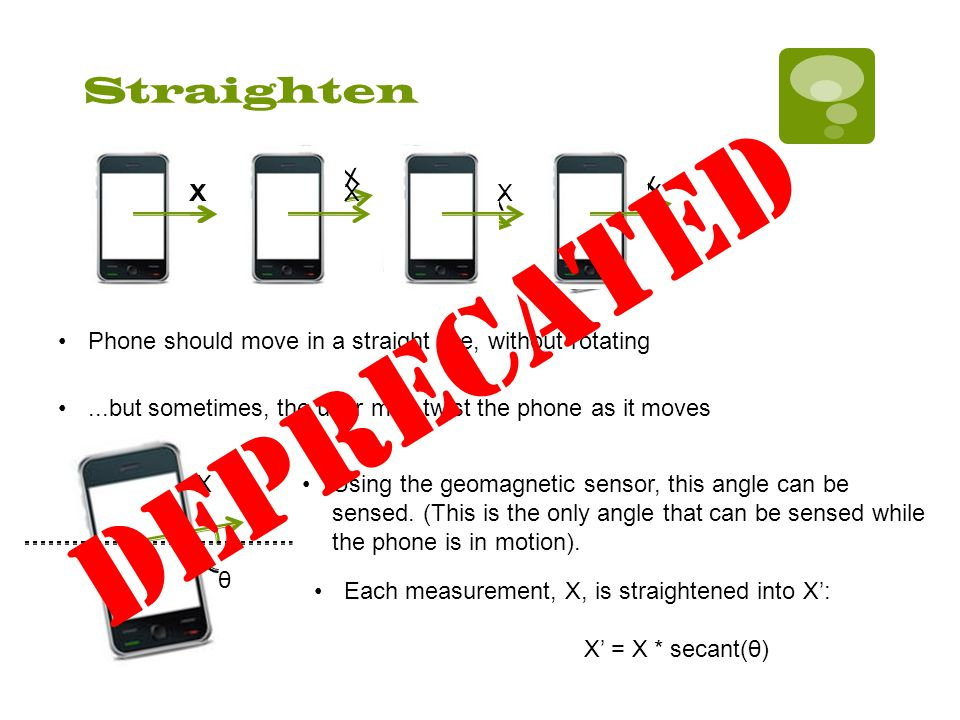 Straighten XX X X X Phone should move in a straight line, without rotating...but sometimes, the user may twist the phone as it moves X θ Using the geomagnetic sensor, this angle can be sensed.
