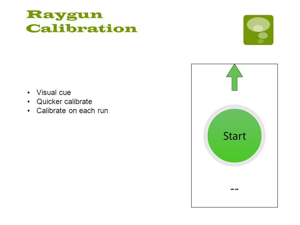 Raygun Calibration Visual cue Quicker calibrate Calibrate on each run