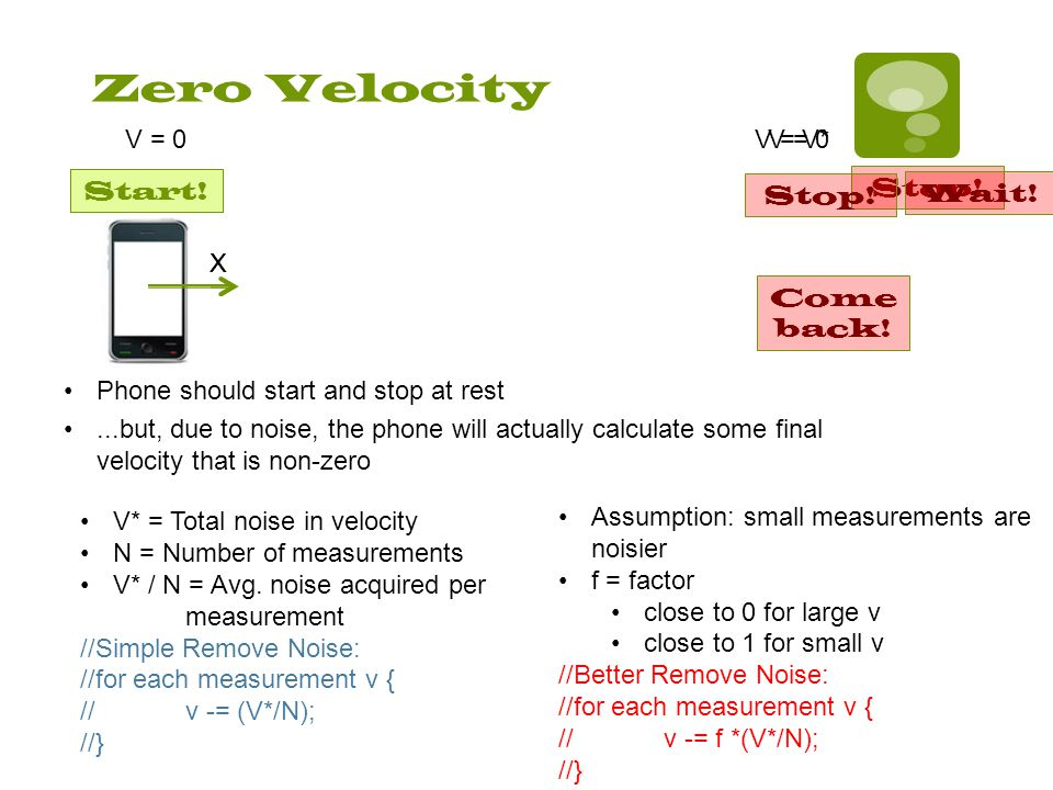 Zero Velocity X Phone should start and stop at rest Start.