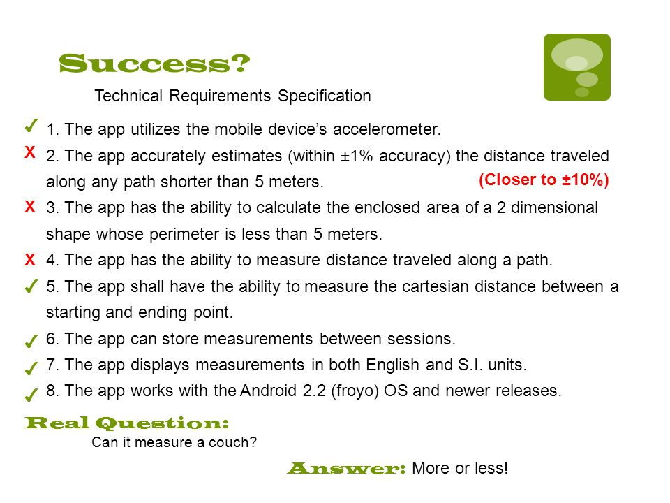 Success? 1. The app utilizes the mobile device's accelerometer. 2. The app accurately estimates (within ±1% accuracy) the distance traveled along any