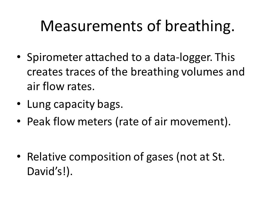 Measurements of breathing. Spirometer attached to a data-logger.