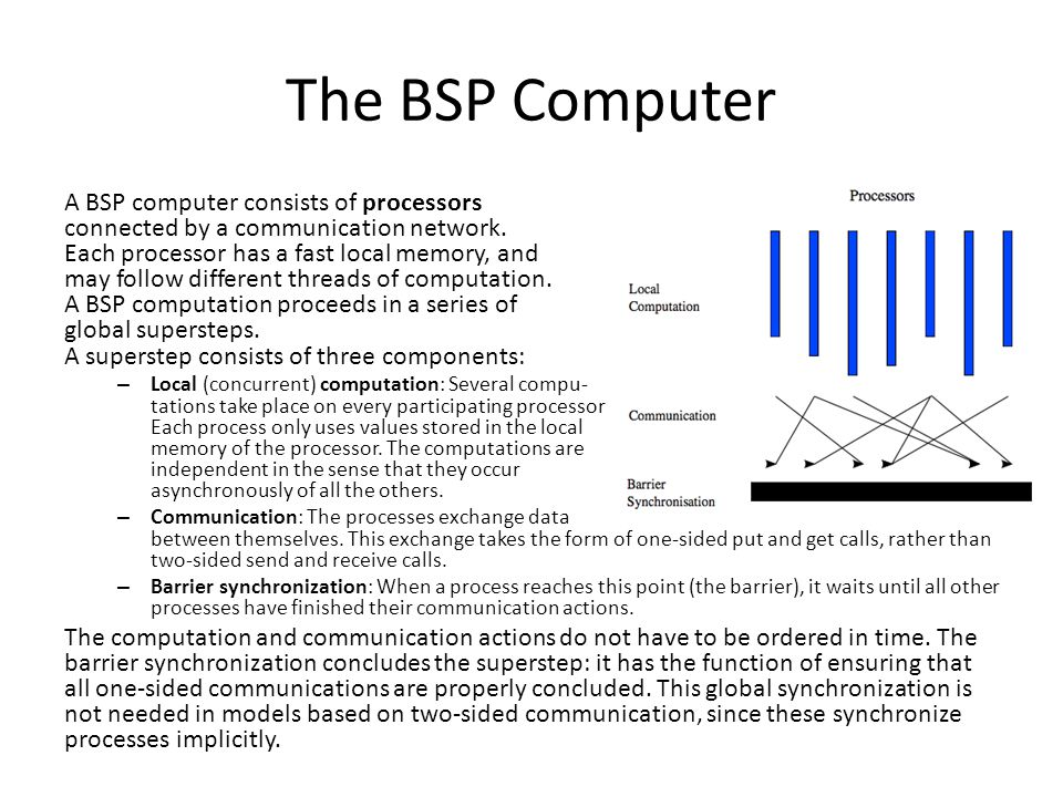 The BSP Computer A BSP computer consists of processors connected by a communication network.