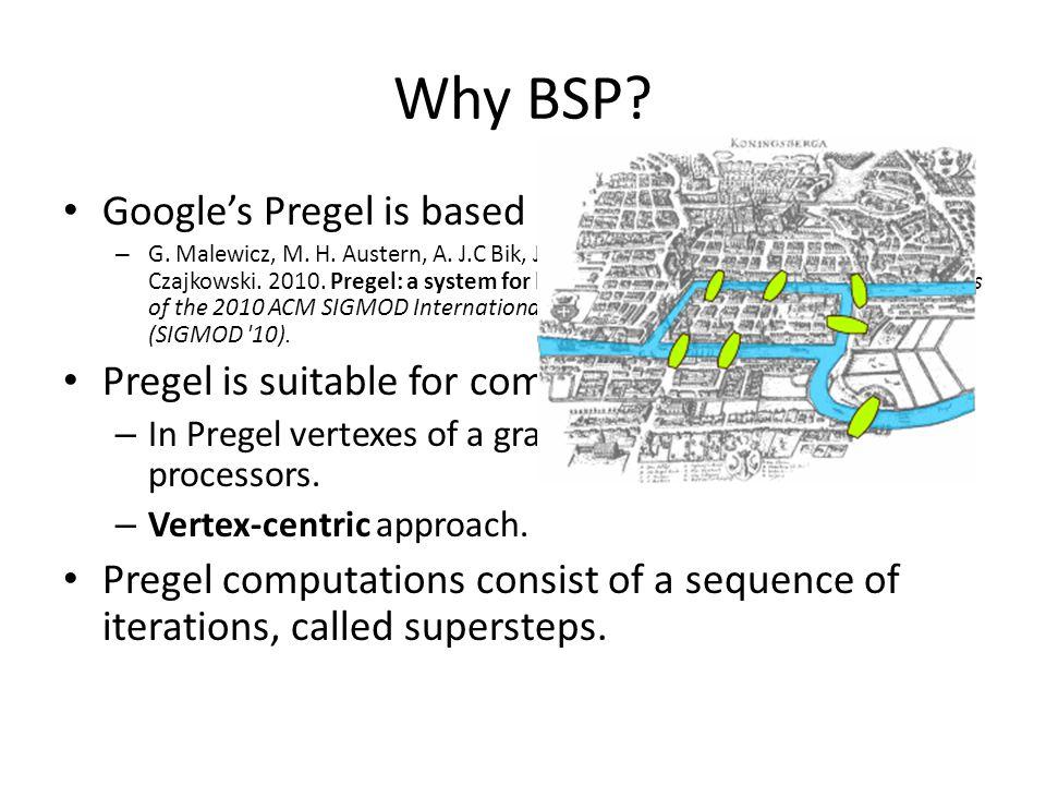 Why BSP. Google's Pregel is based on the BSP model: – G.
