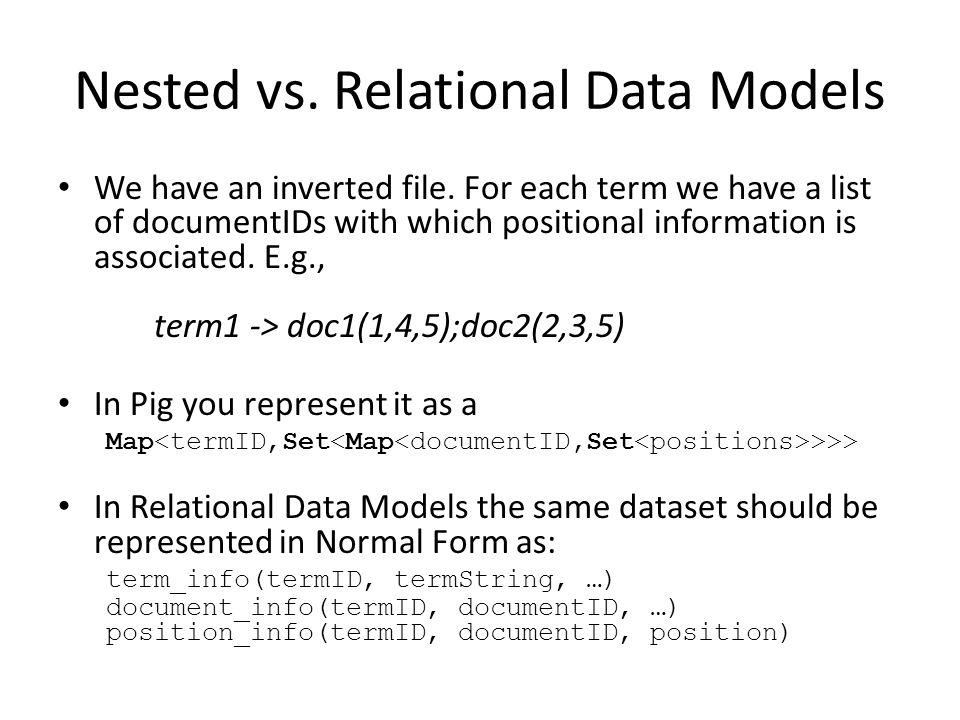 Nested vs. Relational Data Models We have an inverted file.