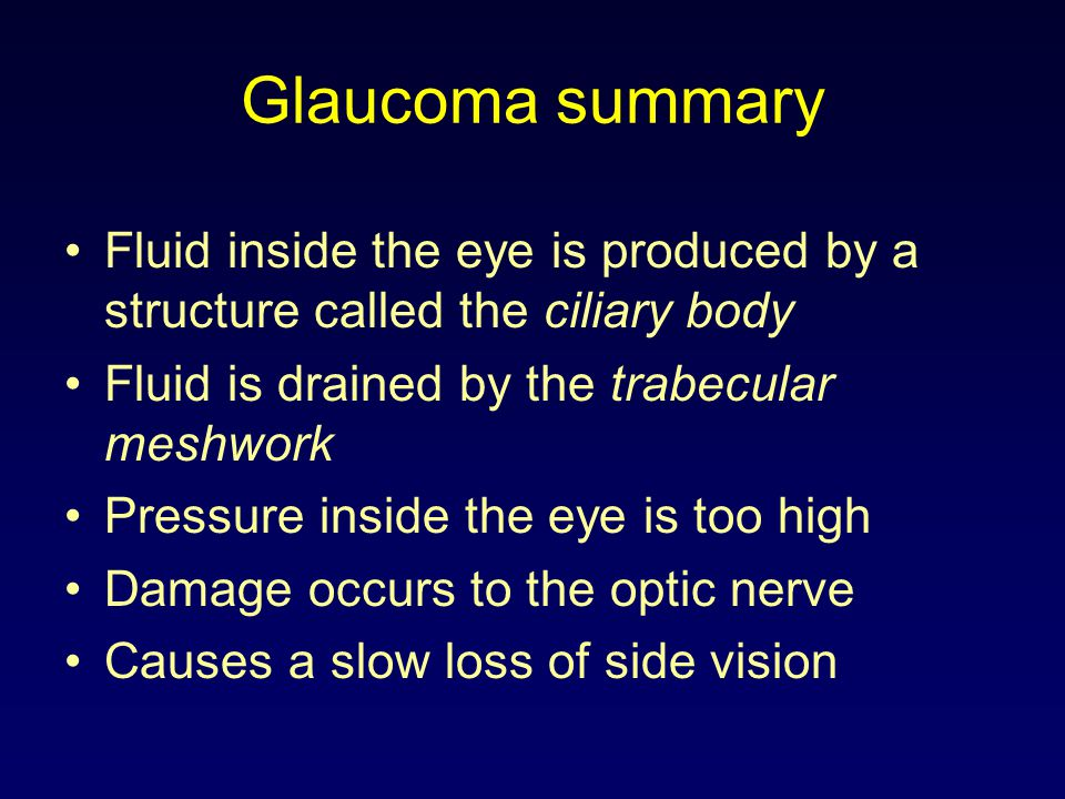 Glaucoma summary Fluid inside the eye is produced by a structure called the ciliary body Fluid is drained by the trabecular meshwork Pressure inside the eye is too high Damage occurs to the optic nerve Causes a slow loss of side vision