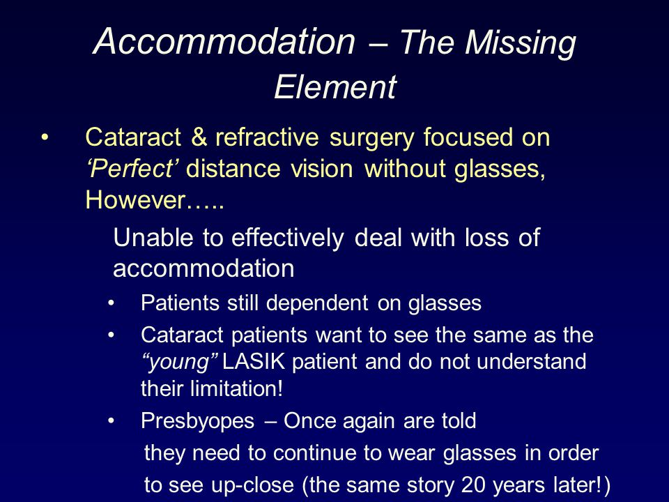 Accommodation – The Missing Element Cataract & refractive surgery focused on 'Perfect' distance vision without glasses, However….. Unable to effective