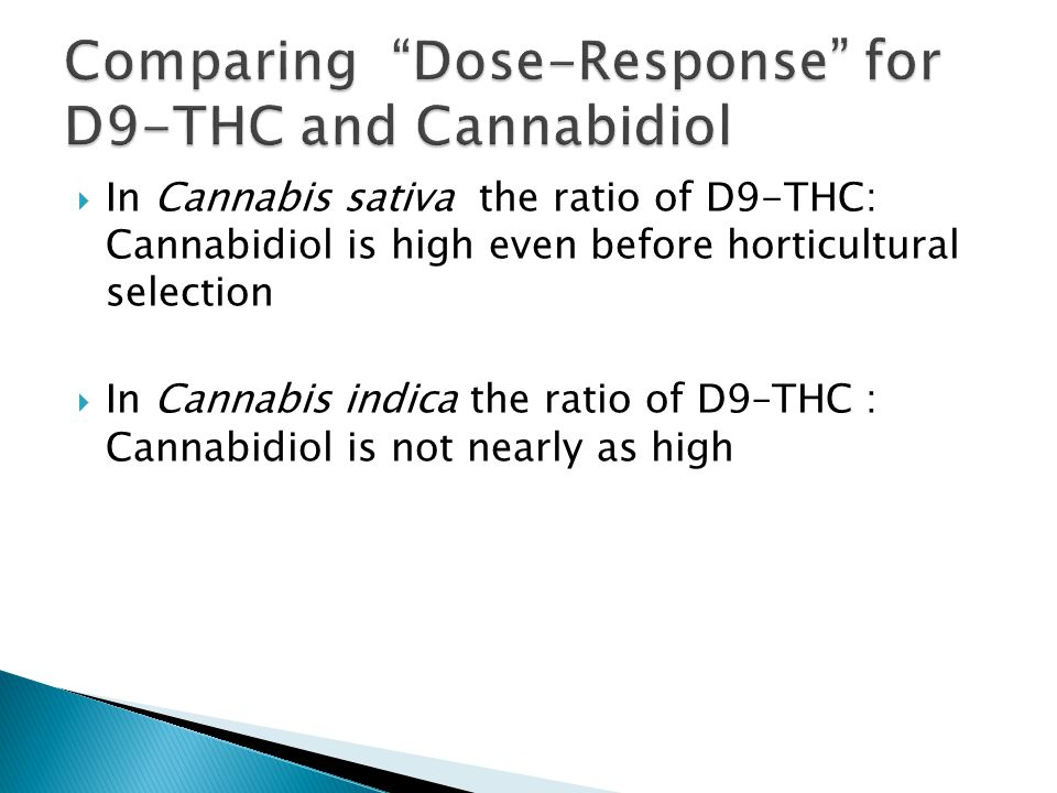  In Cannabis sativa the ratio of D9-THC: Cannabidiol is high even before horticultural selection  In Cannabis indica the ratio of D9–THC : Cannabidiol is not nearly as high