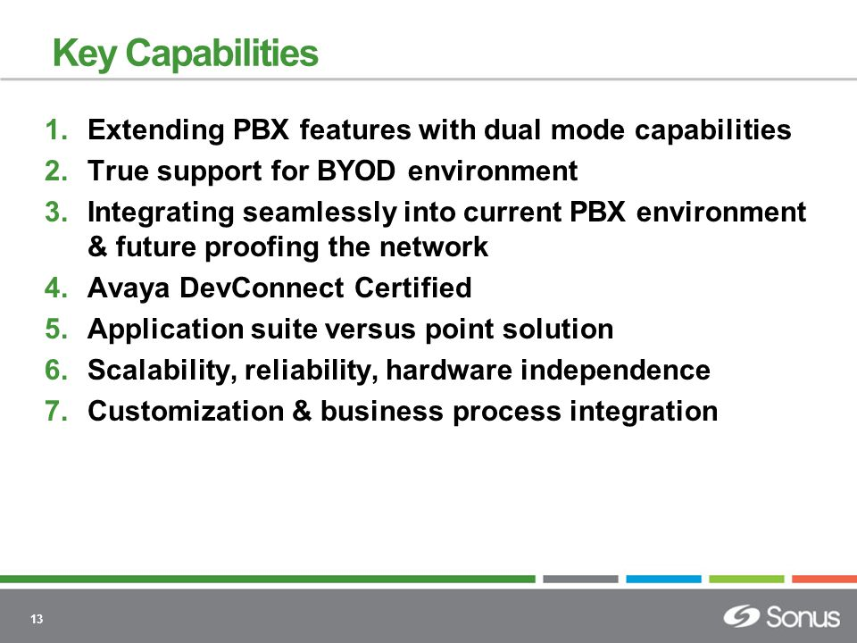 13 Key Capabilities 1.Extending PBX features with dual mode capabilities 2.True support for BYOD environment 3.Integrating seamlessly into current PBX environment & future proofing the network 4.Avaya DevConnect Certified 5.Application suite versus point solution 6.Scalability, reliability, hardware independence 7.Customization & business process integration