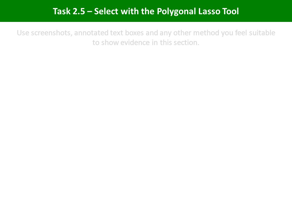 Task 2.5 – Select with the Polygonal Lasso Tool Use screenshots, annotated text boxes and any other method you feel suitable to show evidence in this section.