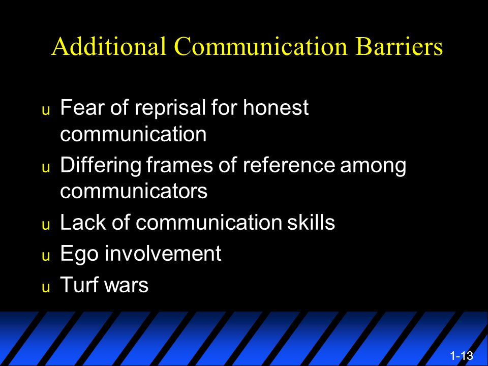 1-13 Additional Communication Barriers u Fear of reprisal for honest communication u Differing frames of reference among communicators u Lack of communication skills u Ego involvement u Turf wars