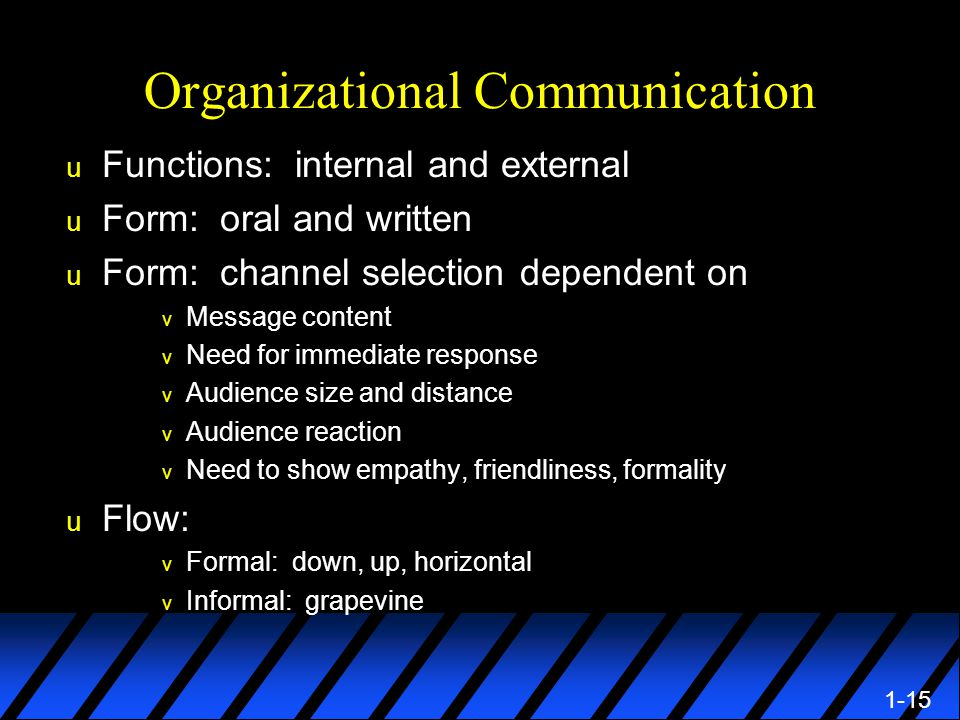 1-15 Organizational Communication u Functions: internal and external u Form: oral and written u Form: channel selection dependent on v Message content v Need for immediate response v Audience size and distance v Audience reaction v Need to show empathy, friendliness, formality u Flow: v Formal: down, up, horizontal v Informal: grapevine