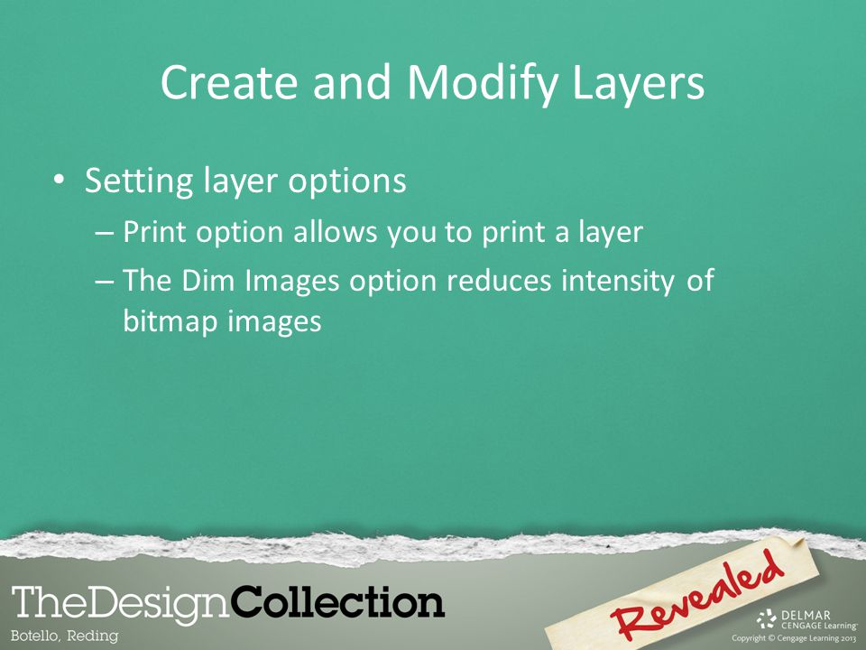 Create and Modify Layers Setting layer options – Print option allows you to print a layer – The Dim Images option reduces intensity of bitmap images