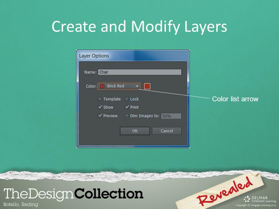 Create and Modify Layers Color list arrow