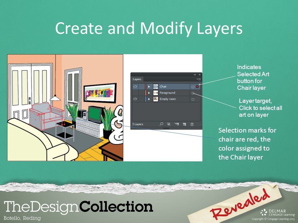 Create and Modify Layers Selection marks for chair are red, the color assigned to the Chair layer Layer target, Click to select all art on layer Indicates Selected Art button for Chair layer
