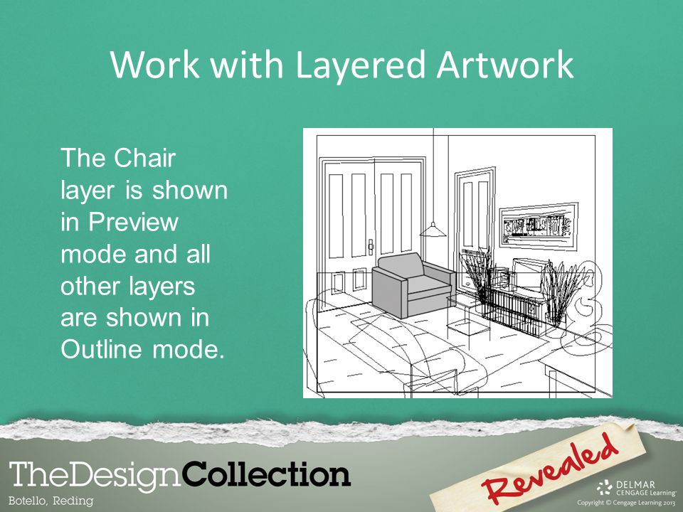 Work with Layered Artwork The Chair layer is shown in Preview mode and all other layers are shown in Outline mode.