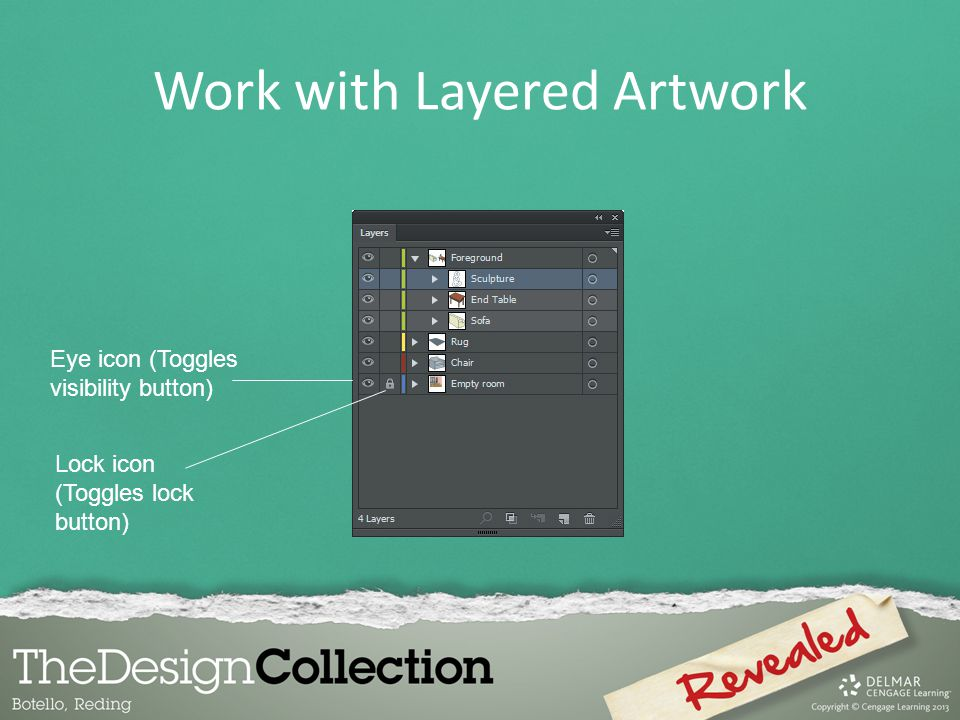 Work with Layered Artwork Lock icon (Toggles lock button) Eye icon (Toggles visibility button)