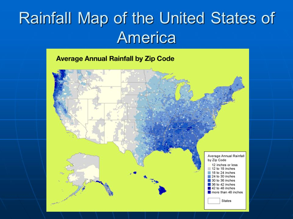 Rainfall Map of the United States of America
