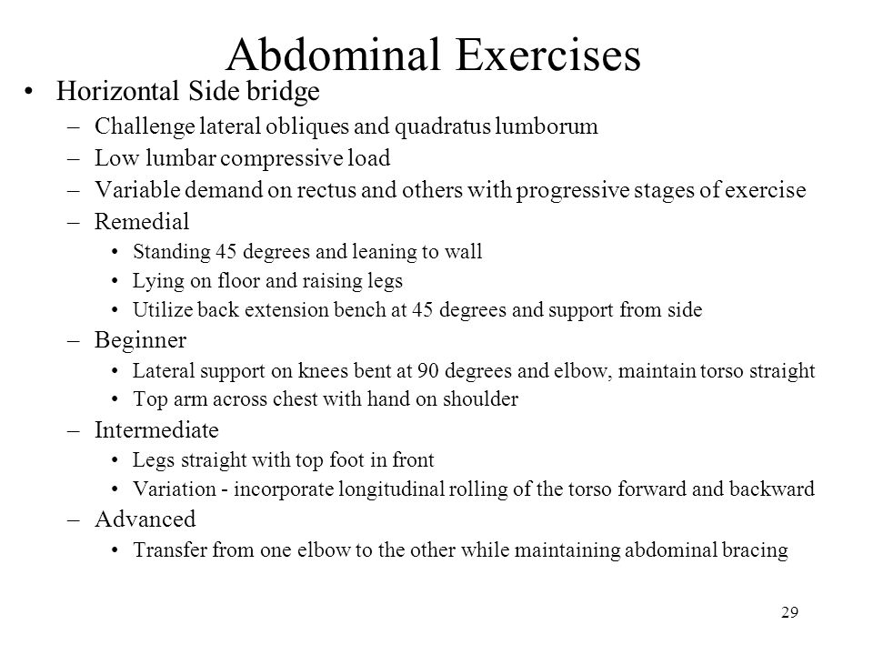 29 Abdominal Exercises Horizontal Side bridge –Challenge lateral obliques and quadratus lumborum –Low lumbar compressive load –Variable demand on rectus and others with progressive stages of exercise –Remedial Standing 45 degrees and leaning to wall Lying on floor and raising legs Utilize back extension bench at 45 degrees and support from side –Beginner Lateral support on knees bent at 90 degrees and elbow, maintain torso straight Top arm across chest with hand on shoulder –Intermediate Legs straight with top foot in front Variation - incorporate longitudinal rolling of the torso forward and backward –Advanced Transfer from one elbow to the other while maintaining abdominal bracing