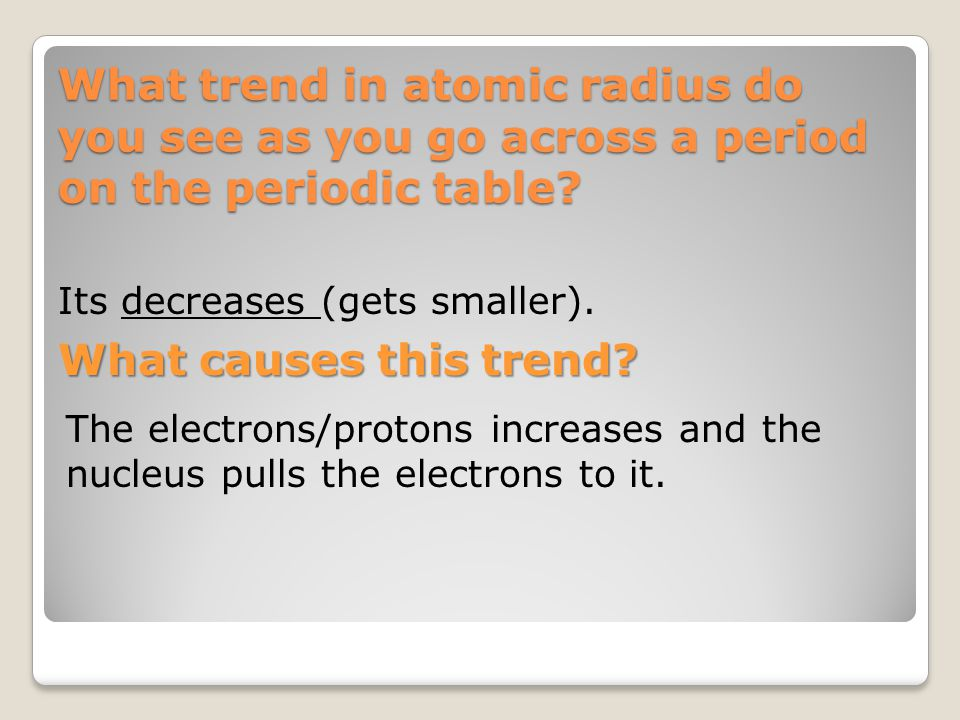 What trend in atomic radius do you see as you go across a period on the periodic table? Its decreases (gets smaller). What causes this trend? The elec