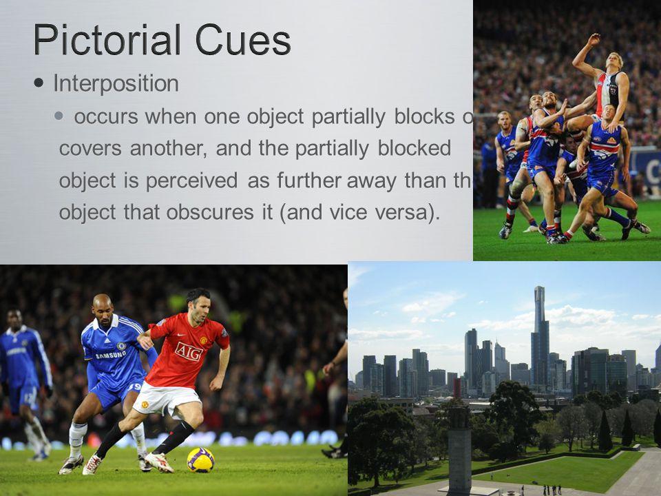 Interposition Interposition occurs when one object partially blocks or occurs when one object partially blocks or covers another, and the partially bl