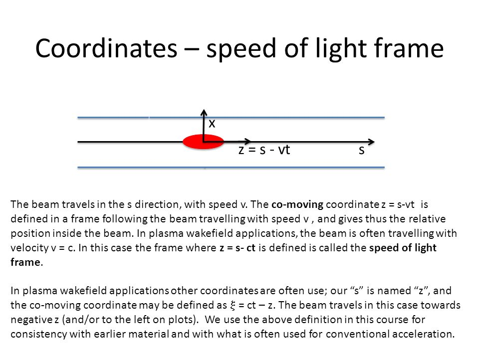 Coordinates – speed of light frame sz = s - vt x The beam travels in the s direction, with speed v.