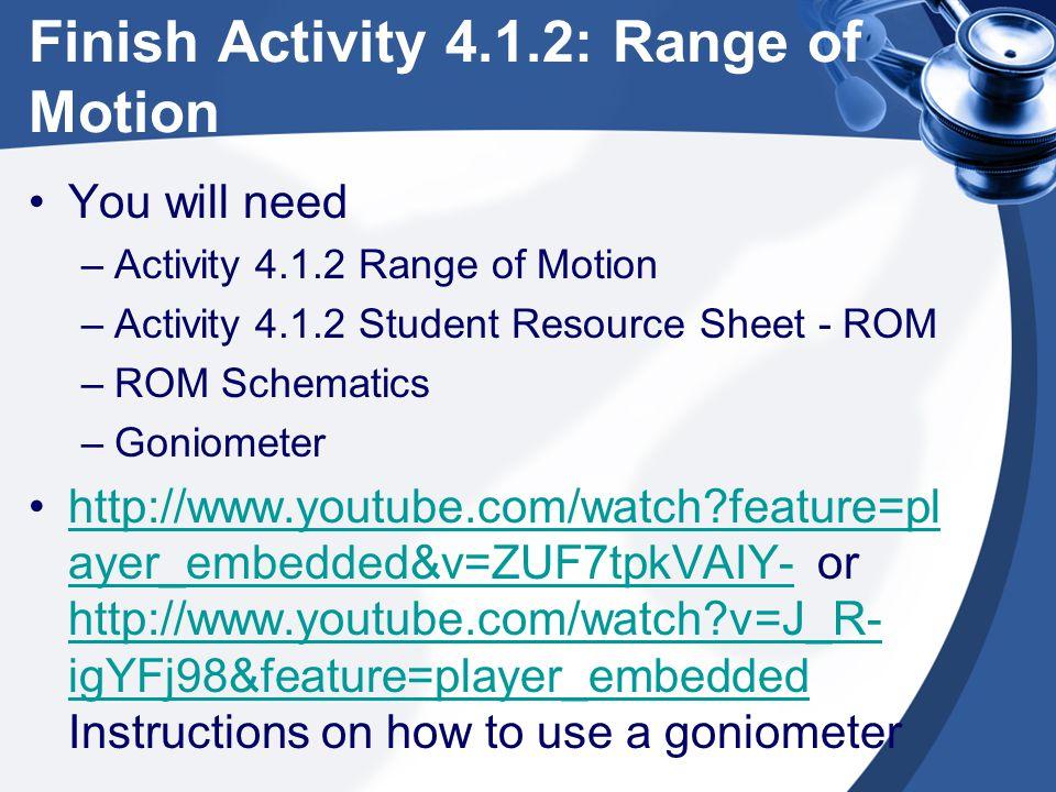 Finish Activity 4.1.2: Range of Motion You will need –Activity 4.1.2 Range of Motion –Activity 4.1.2 Student Resource Sheet - ROM –ROM Schematics –Gon
